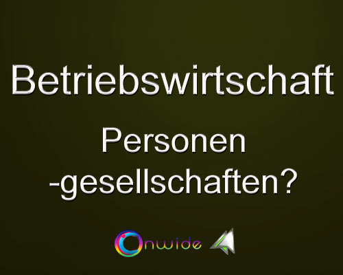 Personengesellschaft Überblick - Conwide, Community Kontakt Portal