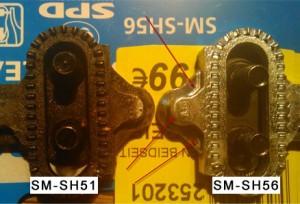 Shimano SPD- Klicksystem, Rückseite, Unterseite - SM-SH 51, SM-SH 56