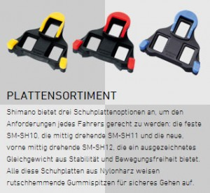 Klick-Pedalen Fahrrad Plattensortiment SM-SH10, SM-SH11, SM-SH12