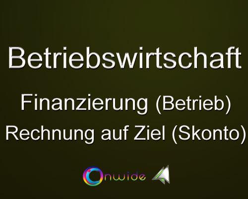 Finanzierung, Skontoberechnung (Betrieb) - Conwide, Community Kontakt Portal